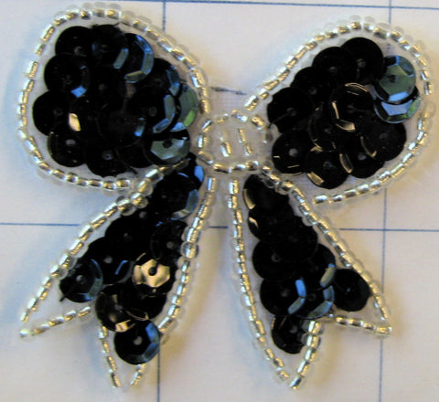 "Bow Black Sequin with Silver Trim 1.5"" x 1.78"""