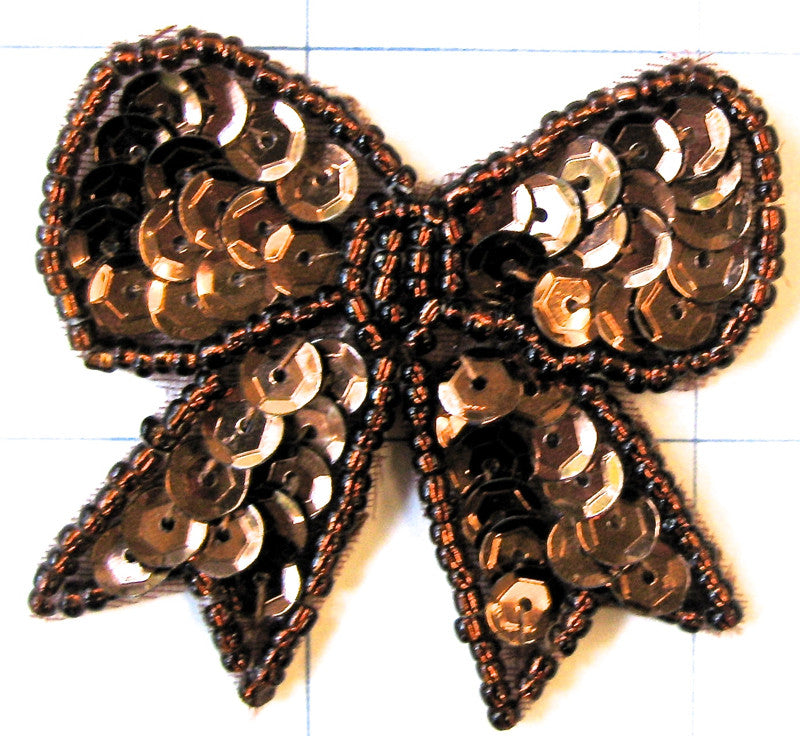 "Bow with Bronze Sequins and Beads 1 7/8"" x 2"""