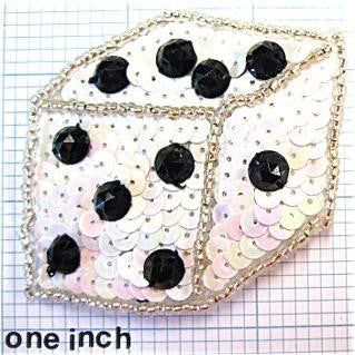 "10 PACK Dice with Black and White Sequins and Beads 2.5"" x 2.5"""