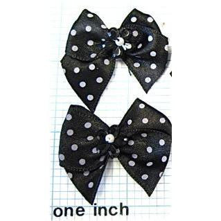 Bow Black Satin with White Polka Dots 1.5 x 1.5