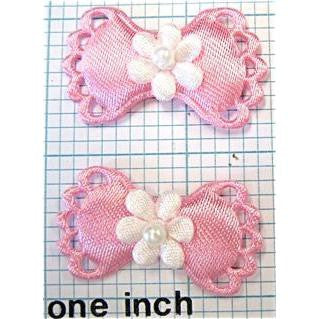 "Flower on Bow Pair, Pink Satin 1 3/8"" x 7/8"""