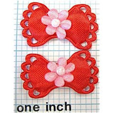 "Load image into Gallery viewer, Flower on Bow Pair, Red Satin 1 3/8"" x 7/8"""