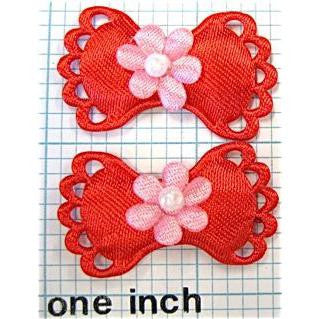 Flower on Bow Pair, Red Satin 1 3/8