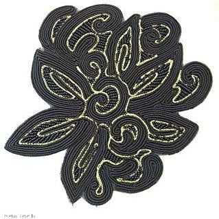 "Designer Motif Braided Black Fabric with Gold 8"" x 6.5"""