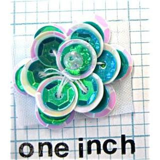 Flower Green and White Sequins with Bead in Center 1""