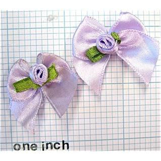 Flower Pair  Purple Satin 1""