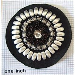 Designer Motif Circle with White Beads and Rhinestones on Felt 3""