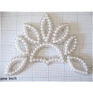 "Pearled and beaded crown applique 4"" x 5"""