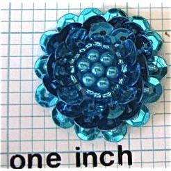 Flower With Blue Sequins Pearl 1.25""