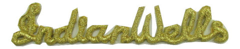 "Indian Wells Word with Iron-on Gold Metallic Threads 0.5"" x 3"""