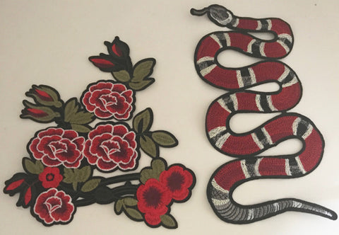 "Embroidered Snake and Embroidered Iron-On Flower Set, Snake   5"" x 11"" and Flower 8"" x 9"""