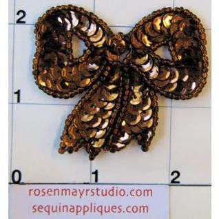 "Bow with Bronze Sequins  2"" x 2.25"""