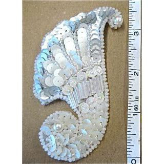 Designer Motif Feather Shape with White and Silver Sequins, White Beads  3.5""