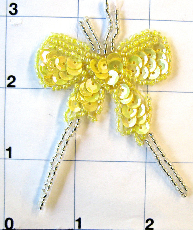 "Bow Yellow with Silver Beads 2.5"" x 2"""