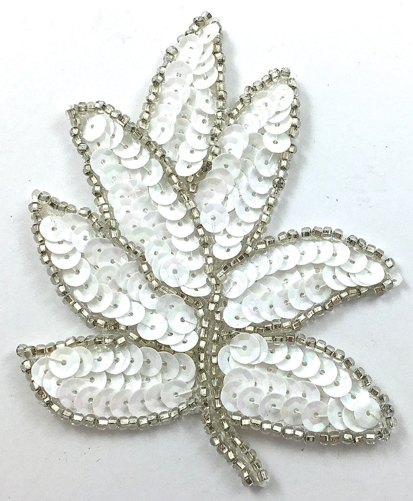 "Leaf Pair White Silver Beads 3"" x 4.5"""