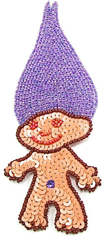 "Troll emoji with Purple Hair 6.5"" x 2.5"""