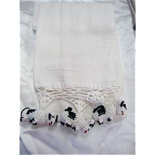 Towel with Embroidered Cows