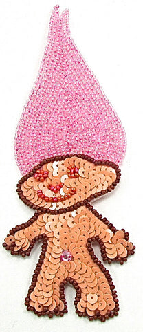 "Troll emoji with Pink Hair  6.5"" x 2.5"""