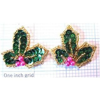 Holly Pair with Pink Beads Center 1.5""