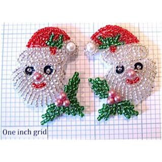 "Santa Face with Cap Pairs in Beads 2.25"" x 1.5"""