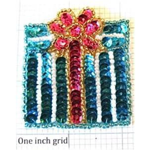 "Present for Christmas Turquoise and Fuchsia 2.25"" X 2"""
