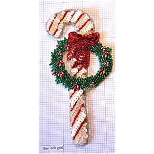 "Candy Cane with Christmas Wreath, Sequin Beaded  6.5"" X 3.25"""
