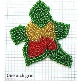 Holly with Green, Gold and Red Beads  2.25""