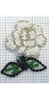 Flower,  White All Beads  2""