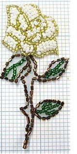 Rose Flower beaded with white gold flower and brown green stem  3.75""