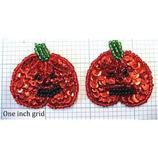 "Halloween Pumpkin Pair with Red Sequins 1.5"" x 1.5"""