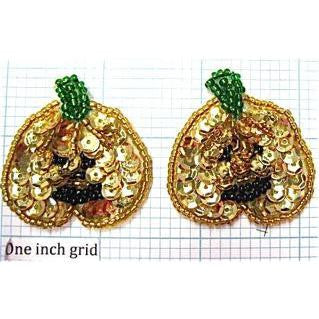 "Pumpkin Pair with Gold Sequins 1.5"" x 1.5"""