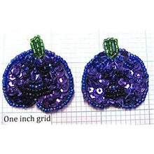 "Load image into Gallery viewer, Pumpkin Pair with Purple Sequins 1.5"" x 1.5"""