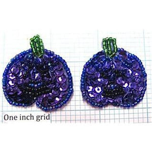"Pumpkin Pair with Purple Sequins 1.5"" x 1.5"""