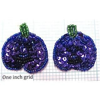 Pumpkin Pair with Purple Sequins 1.5