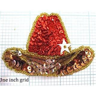"Red Cowboy Hat with White Star 2"" x 3"""