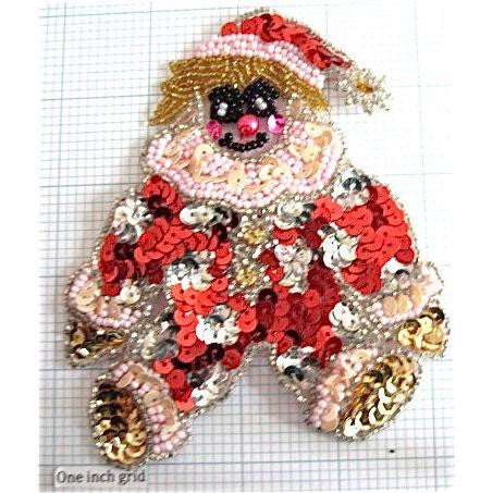 "Santa Teddy Bear Clown with Multi-Colored Clown Outfit 5"" x 4.25"""