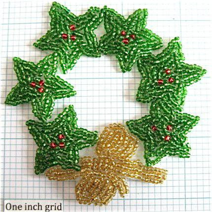 Wreath with Green Stars and Gold Bow all Beaded 3.5""