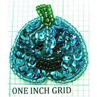 "Pumpkin with Turquoise Sequins 1.5"" x 1.5"""