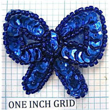 "Load image into Gallery viewer, Bow with Royal Blue Sequins and Beads 1.5"" x 1.5"""