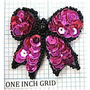 Bow with Deep purple Sequins and Black Beads  1.75""