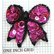 Load image into Gallery viewer, Bow with Deep purple Sequins and Black Beads  1.75""