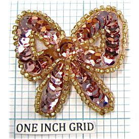 "Bow with Spotlite Pink Sequins and Beads 1.75"" x 1.75"""