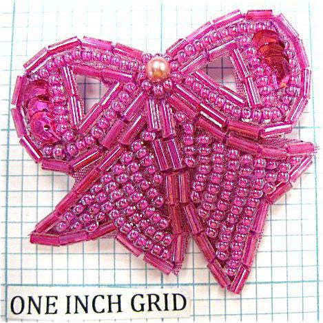 "Bow with Fuchsia Beads 2"" x 2"""