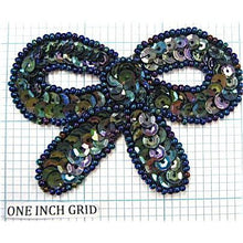 "Load image into Gallery viewer, Bow Gunmetal Sequins & Beads  3"" x 2.25"""