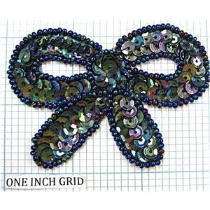 "Bow Gunmetal Sequins & Beads  3"" x 2.25"""