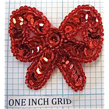 "Bow Red Sequin and bead trim 1.5"" x 1.75"""