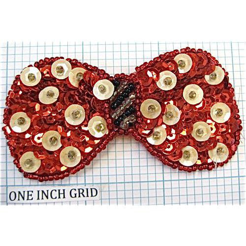 Bow red Sequin with White Polka Dots