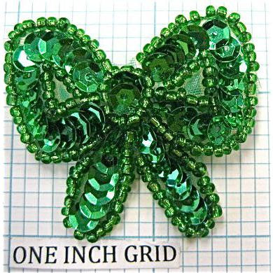 "Bow Green Sequins 2"" x 2"""