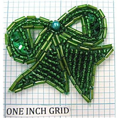 Bow Green Beaded 2""