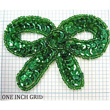 "Load image into Gallery viewer, Bow Green sequin & beads 3"" x 2.25"""